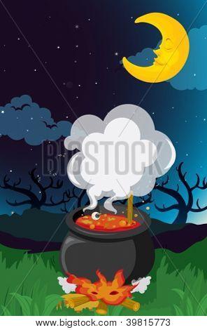 illustration of a moon in a dark night