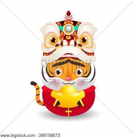 Happy Chinese New Year 2022, Little Tiger With Lion Dance Head Holding Chinese Gold, The Year Of The