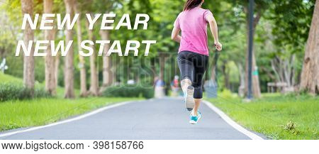 New Year New Start With Young Woman Running In The Park Outdoor, Asian Athlete Jogging And Exercise