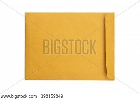 Brown Envelope Front Isolated On White Background With Clipping Path. Top View. Document Envelope.