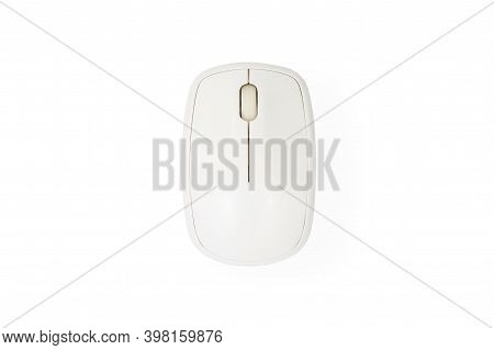 White Computer Mouse Isolated On White Background With Clipping Path. Top View.