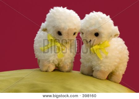 2 Toy Sheep In Spring