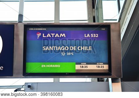 Buenos Aires, Argentina - 23 Dec 2019: The Info Plate In The Airport Of Buenos Aires, Argentina