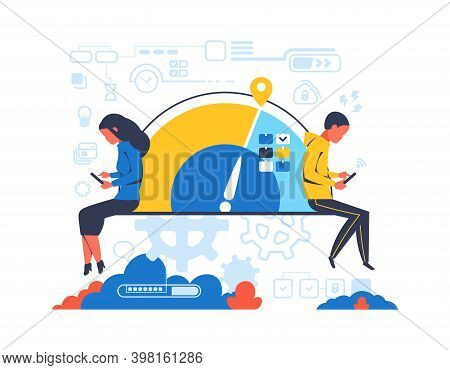 People Working Overtime. Cartoon Worker With Electronic Devices. Isolated Busy Man And Woman. Clock