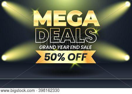 Mega Deals Year End Grand Sale Mega Sale Banner Template Design With Gold Ribbon. Social Media Banne
