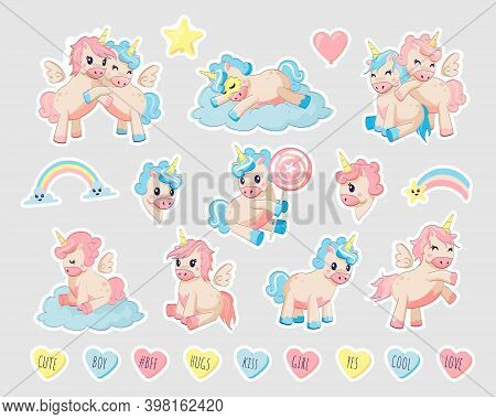 Unicorn Patch. Cartoon Funny Baby Animals With Horns And Wings. Little Pegasus And Ponies Play On Cl