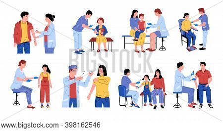 Vaccination. Cartoon Doctors Make Injection Of Vaccine, Dangerous Disease Precaution For Kids And Ad