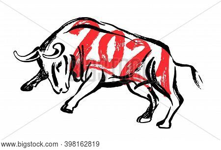 Bull Ready To Jump Ink Sketch. Ox, Bull, Cow On White Background. Chinese Happy New Year 2021. Lunar