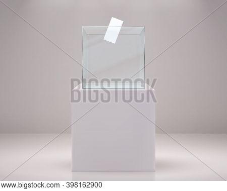 Realistic Vote Box. Election Paper Ballot, 3d Glass Transparent Container On White Podium. Plastic P