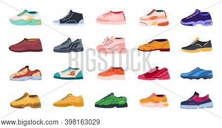 Cartoon Footwear. Modern Shoes For Men And Women. Collection Of Sport Or Casual Trendy Footgear. Cla