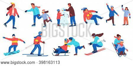 Winter Activities. Cartoon People Playing Snowballs, Making Snowman. Isolated Men And Women Skating