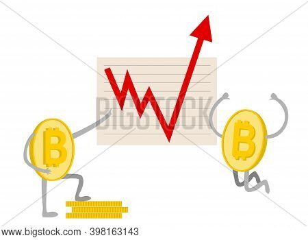 Bitcoin. Growth. Bitcoin Growth Graph. Red Arrow Up. Bitcoin Index Rating Go Up On Exchange Market.