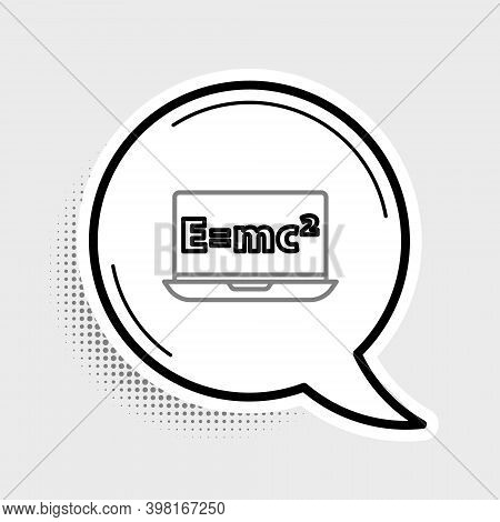 Line Math System Of Equation Solution On Laptop Icon Isolated On Grey Background. E Equals Mc Square
