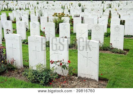 Close-up World War I Cemetery in France