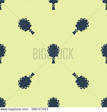 Blue Sauna Broom Icon Isolated Seamless Pattern On Yellow Background. Broom From Birch Twigs, Branch