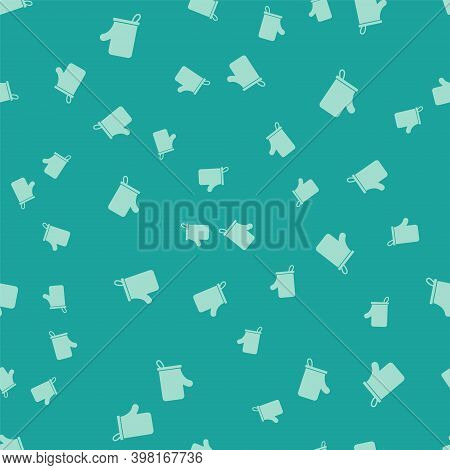 Green Sauna Mittens Icon Isolated Seamless Pattern On Green Background. Mitten For Spa. Vector