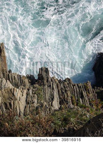 rocky coast and waves