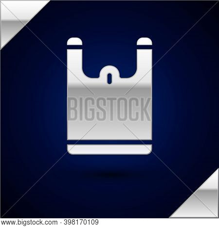 Silver Plastic Bag Icon Isolated On Dark Blue Background. Disposable Cellophane And Polythene Packag