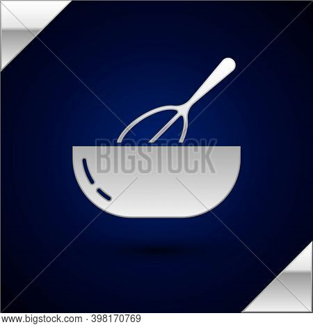 Silver Kitchen Whisk And Bowl Icon Isolated On Dark Blue Background. Cooking Utensil, Egg Beater. Cu
