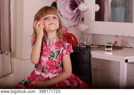 Cute Little Blond Baby Girl Sit In Front Of Mirror, Make Make Up Smile Close Up Portrait