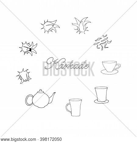 Hibiscus Tea Set. Herbal Tea From Calyces Sepals Of The Roselle Flower Cup Teapot Ink Hand Drawn Ske