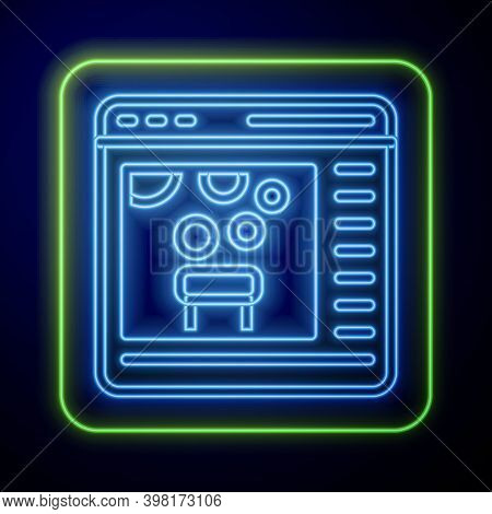 Glowing Neon Chemical Experiment Online Icon Isolated On Blue Background. Scientific Experiment In T