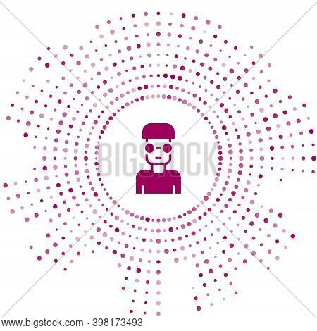 Purple Nerd Geek Icon Isolated On White Background. Abstract Circle Random Dots. Vector