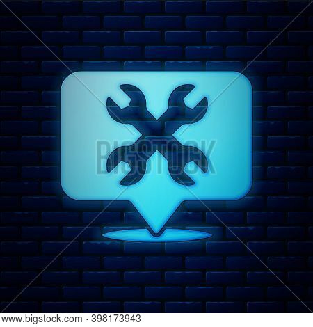 Glowing Neon Location With Wrench Spanner Icon Isolated On Brick Wall Background. Adjusting, Service