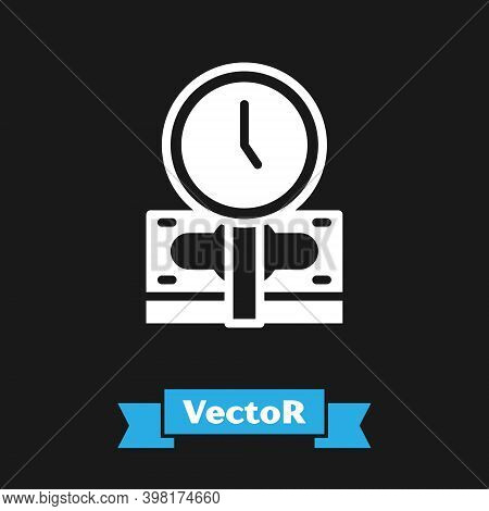 White Time Is Money Icon Isolated On Black Background. Money Is Time. Effective Time Management. Con
