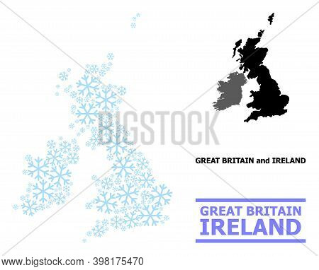 Vector Mosaic Map Of Great Britain And Ireland Created For New Year, Christmas Celebration, And Wint