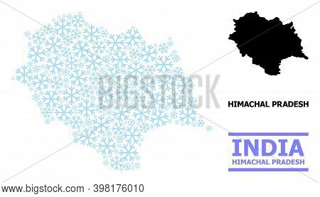 Vector Composition Map Of Himachal Pradesh State Designed For New Year, Christmas Celebration, And W