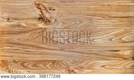 Elm Slab Texture. Wood Texture. Live Edge Elm Desk Countertop In Workshop
