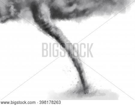 Whirlwind On White Background, Illustration. Weather Phenomenon