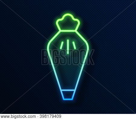 Glowing Neon Line Pastry Bag For Decorate Cakes With Cream Icon Isolated On Blue Background. Kitchen
