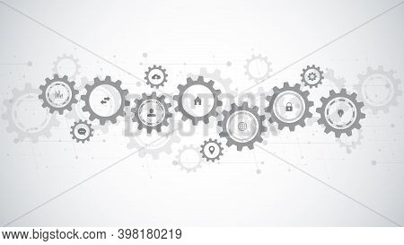 Information Technology With Infographic Elements And Flat Icons. Cogs And Gear Wheel Mechanisms. Hi-