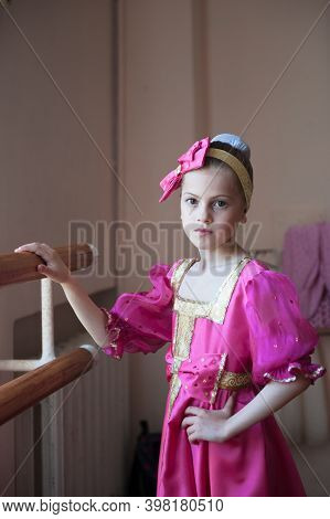 Beautiful Little Russian Girl In Traditional Costume Barre Exercise In Ballet Dance School