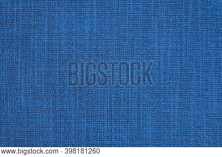 Blue Fabric With Pronounced Texture, Weaving Threads. Furniture Fabric, Background.