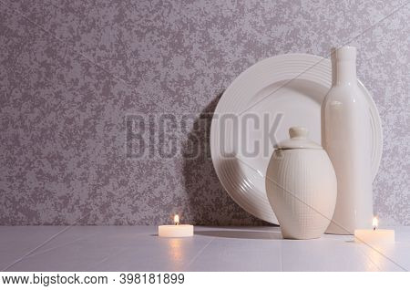 Relaxation Nordic Home Decor In Evening With Glowing Candles, White Simple Ceramic Crockery In Moonl