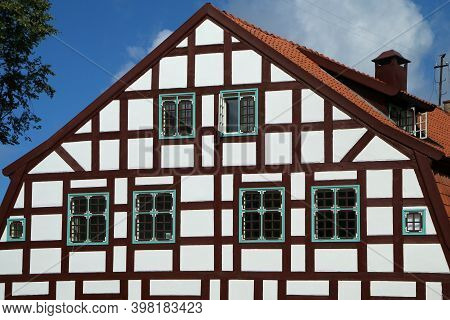 A Picture Of The Historical Brick Family House In Klaipeda In Lithuania. The Detail Of The Half-timb