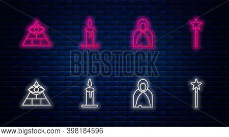 Set Line Burning Candle In Candlestick, Mantle, Cloak, Cape, Masons And Magic Wand. Glowing Neon Ico