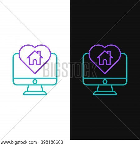 Line Computer Monitor With House In Heart Shape Icon Isolated On White And Black Background. Love Ho