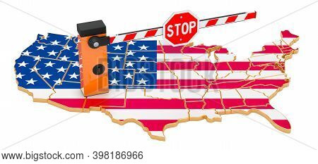 Border Close In The United States. Customs And Border Protection Concept. 3d Rendering Isolated On W