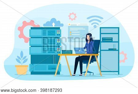 System Administrator. Woman Working On Computer And Doing Technical Work With Server. Configuration