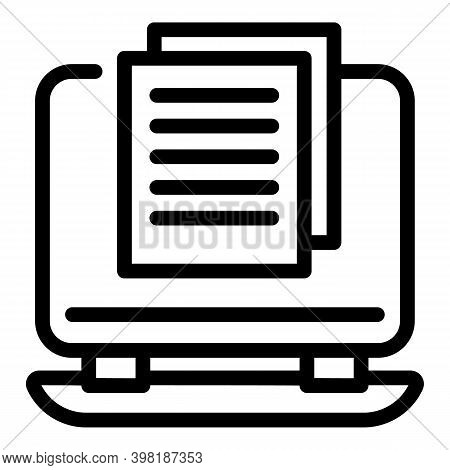 Job Announce Online Icon. Outline Job Announce Online Vector Icon For Web Design Isolated On White B