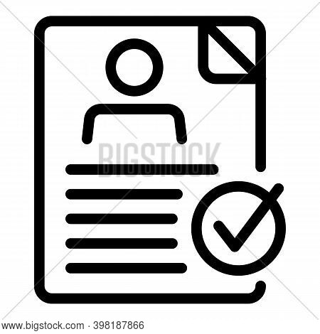 Approved Resume Icon. Outline Approved Resume Vector Icon For Web Design Isolated On White Backgroun
