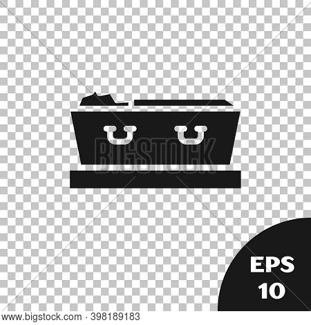 Black Open Coffin With Dead Deceased Body Icon Isolated On Transparent Background. Funeral After Dea