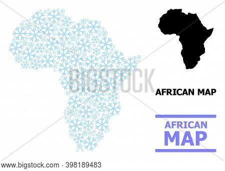 Vector Mosaic Map Of Africa Done For New Year, Christmas Celebration, And Winter. Mosaic Map Of Afri