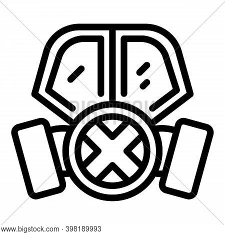 Caution Gas Mask Icon. Outline Caution Gas Mask Vector Icon For Web Design Isolated On White Backgro