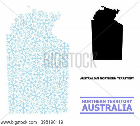 Vector Mosaic Map Of Australian Northern Territory Combined For New Year, Christmas Celebration, And
