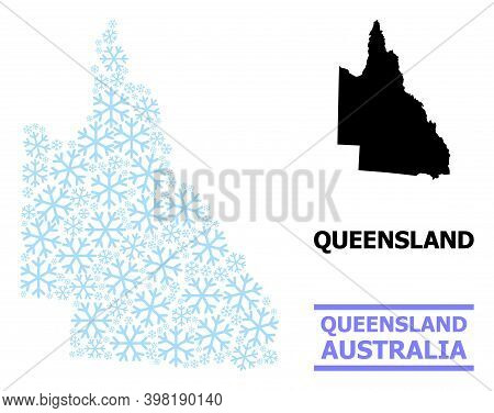 Vector Mosaic Map Of Australian Queensland Organized For New Year, Christmas Celebration, And Winter